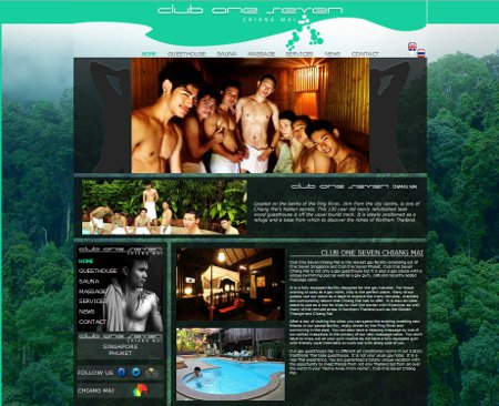 Website for Gay Sauna and Guest House Club One Seven Chiang Mai