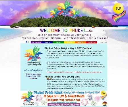 Website Design: Phuket Gay Pride by Bon Tong Productions