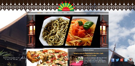 Website design screenshot - Pizza and Pasta at Radchada Garden Cafe
